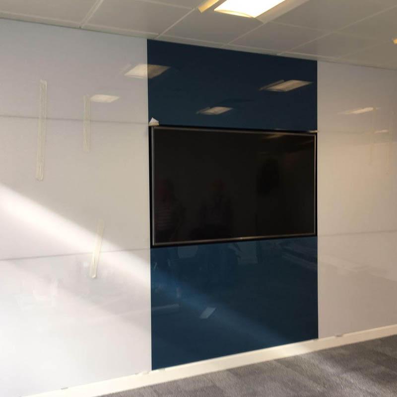 black glass partition